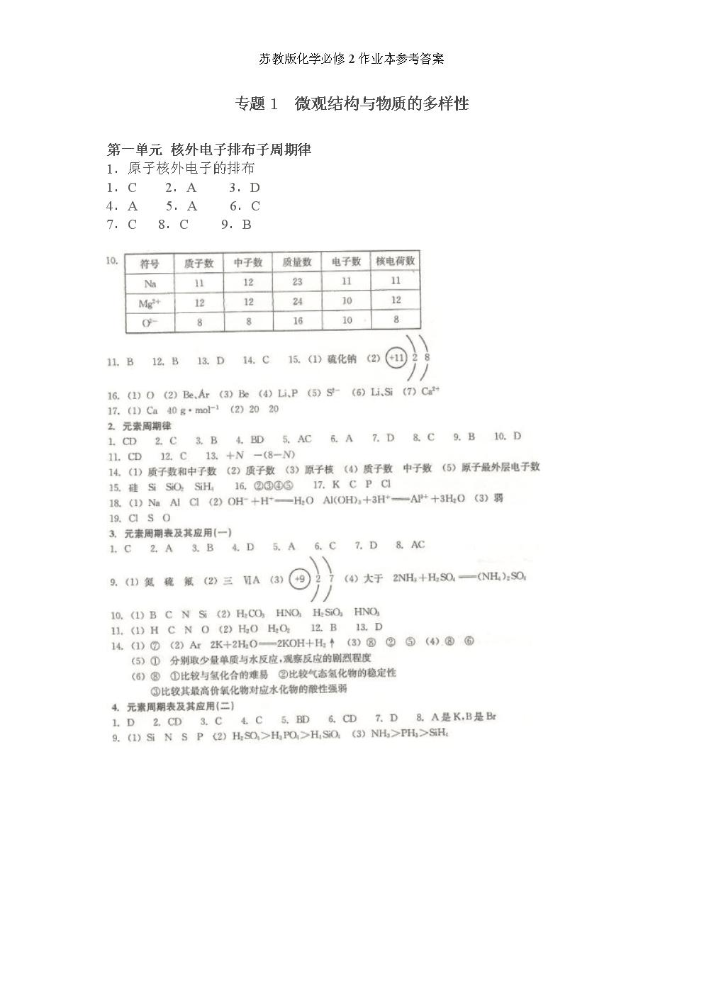 苏教版化学必修2作业本参考答案.doc