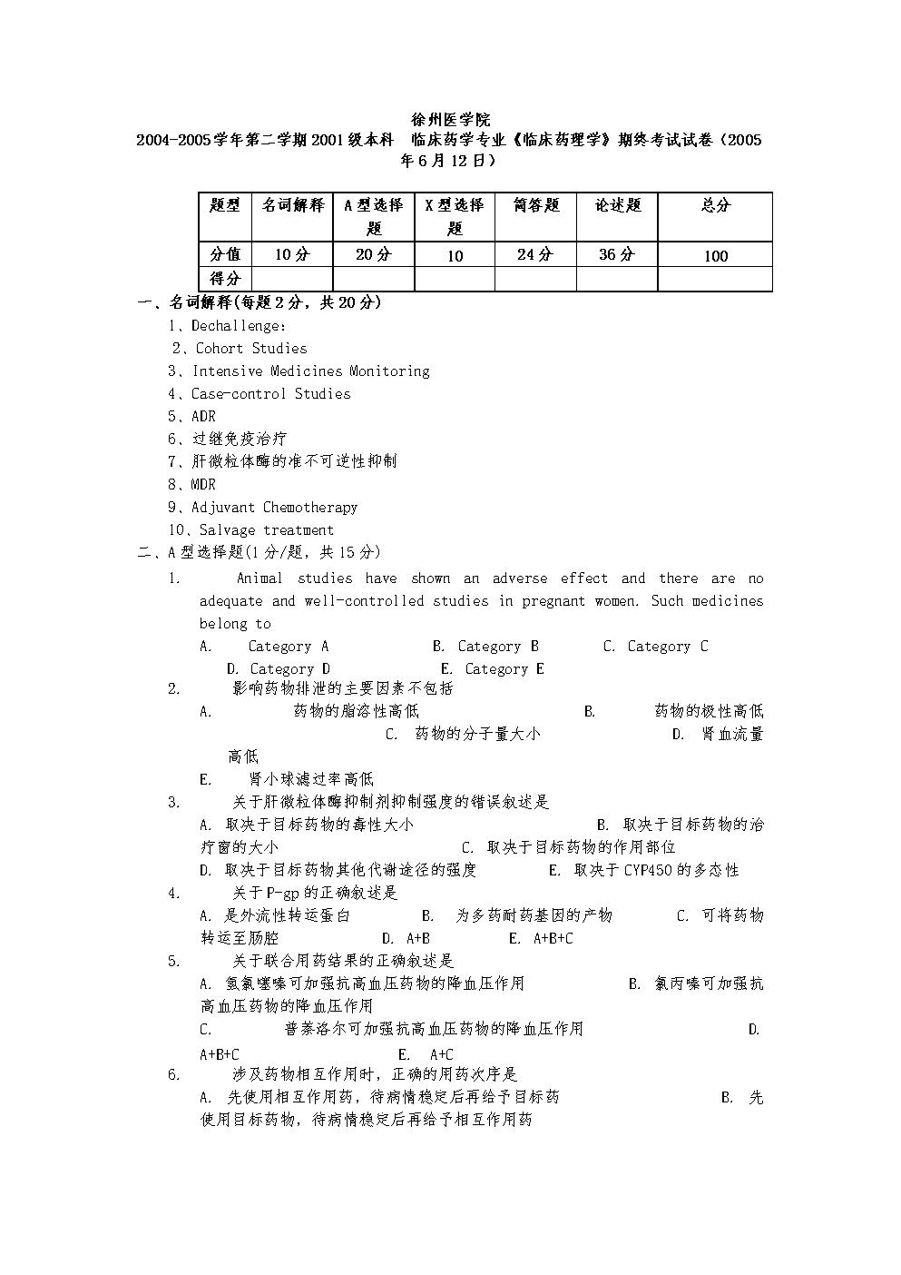 临床药学专业临床药理学期终考试卷.doc