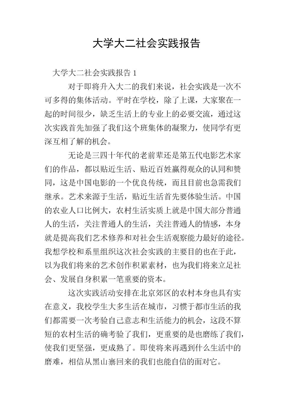 大学大二社会实践报告.doc