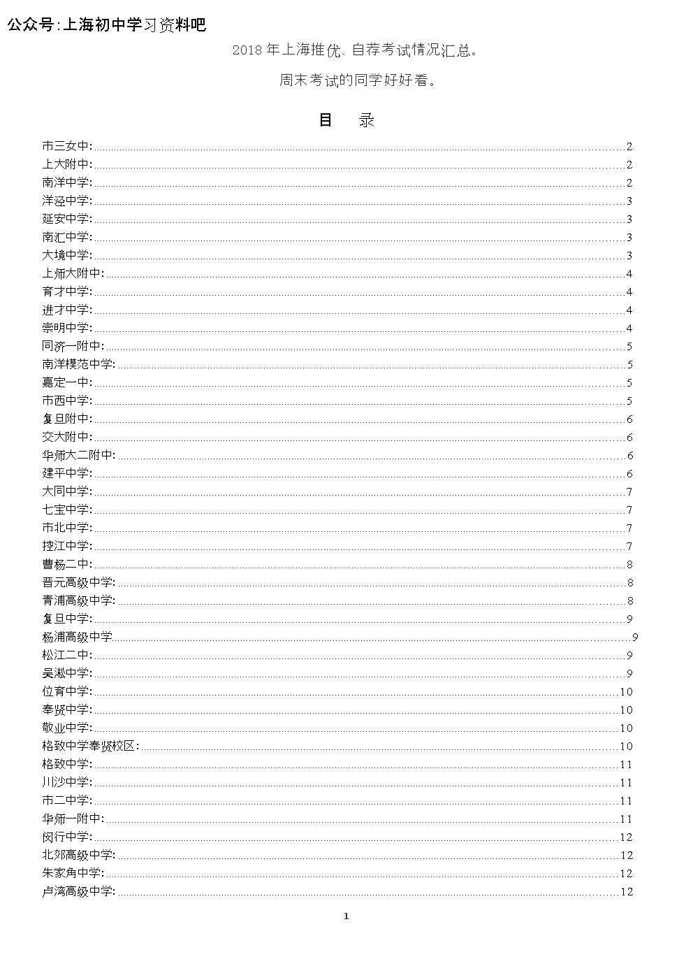 2018年上海推优、自荐考试情况汇总。.doc