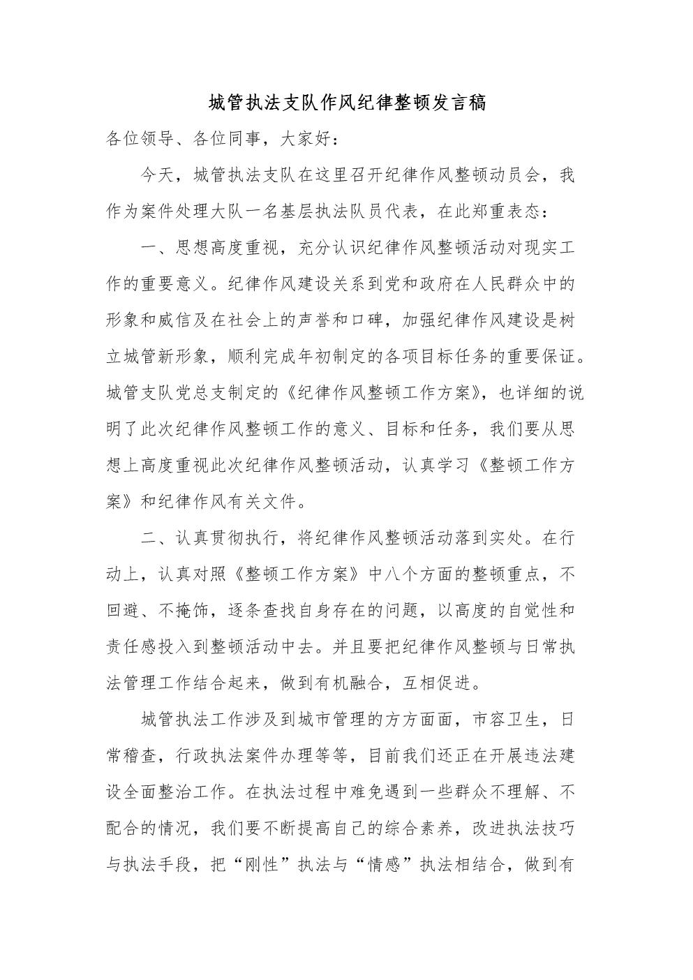 城管执法支队作风纪律整顿发言稿.docx