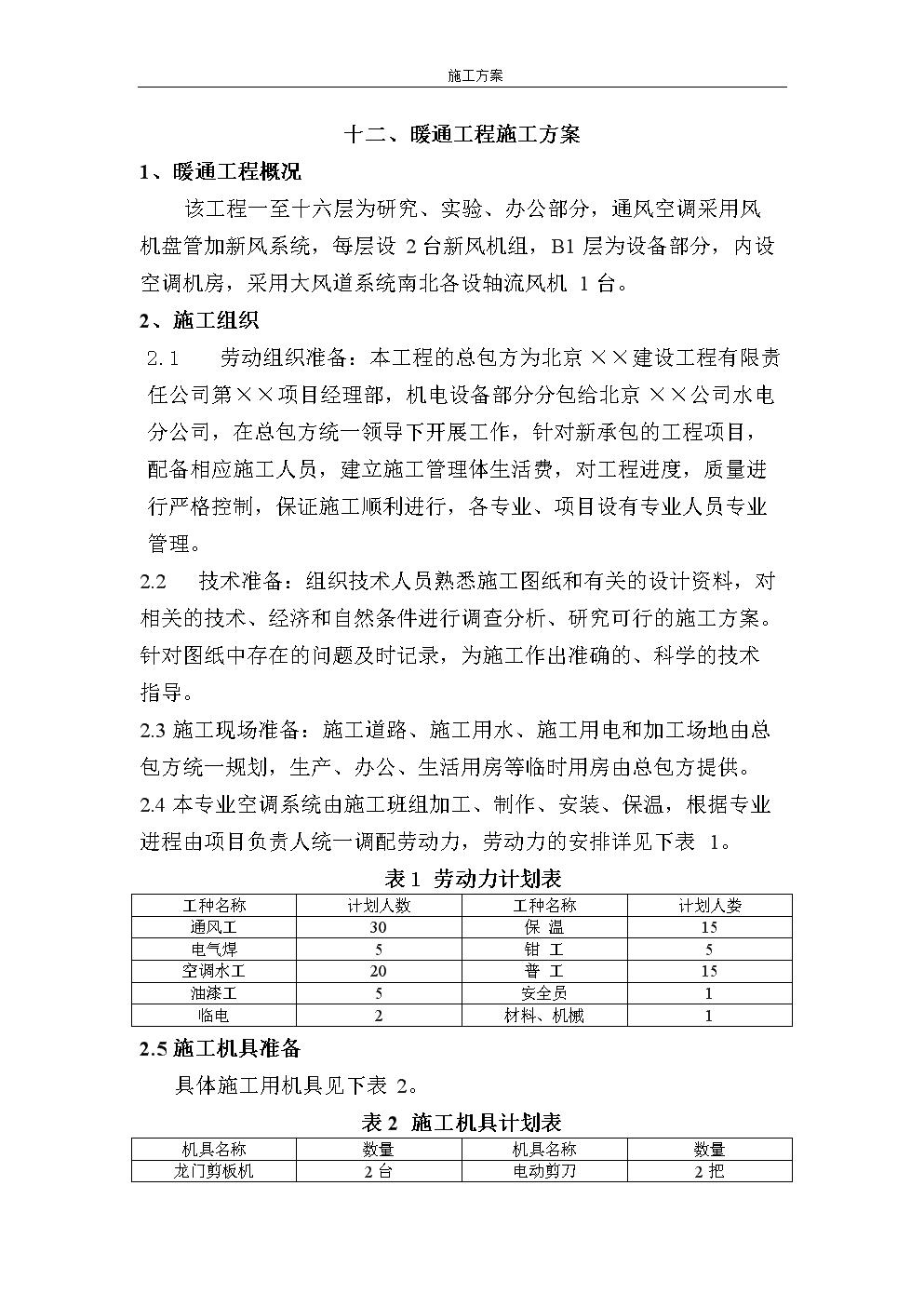 施工方案—暖通工程施工方案.doc