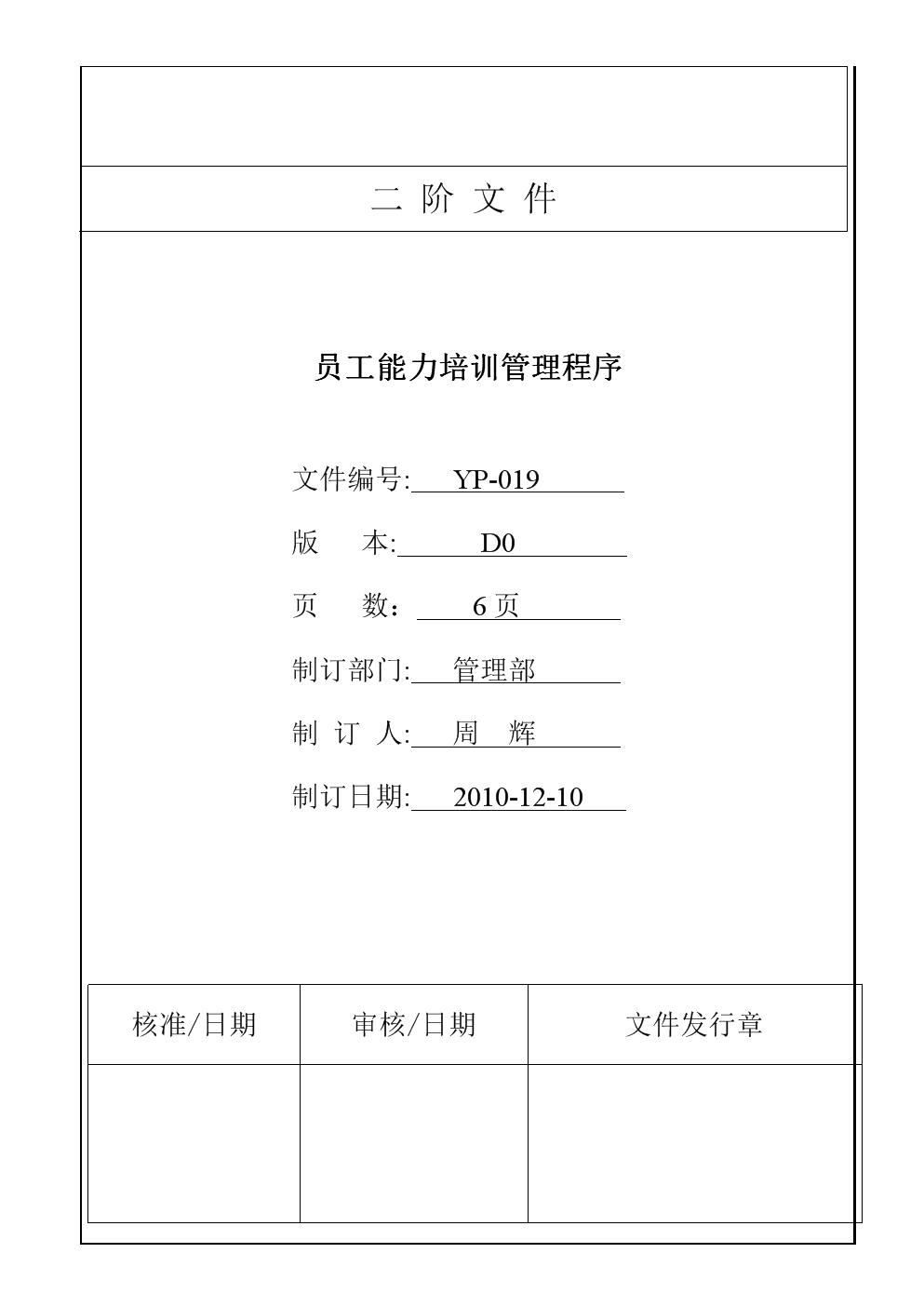 YP-019 员工能力培训管理程序.doc
