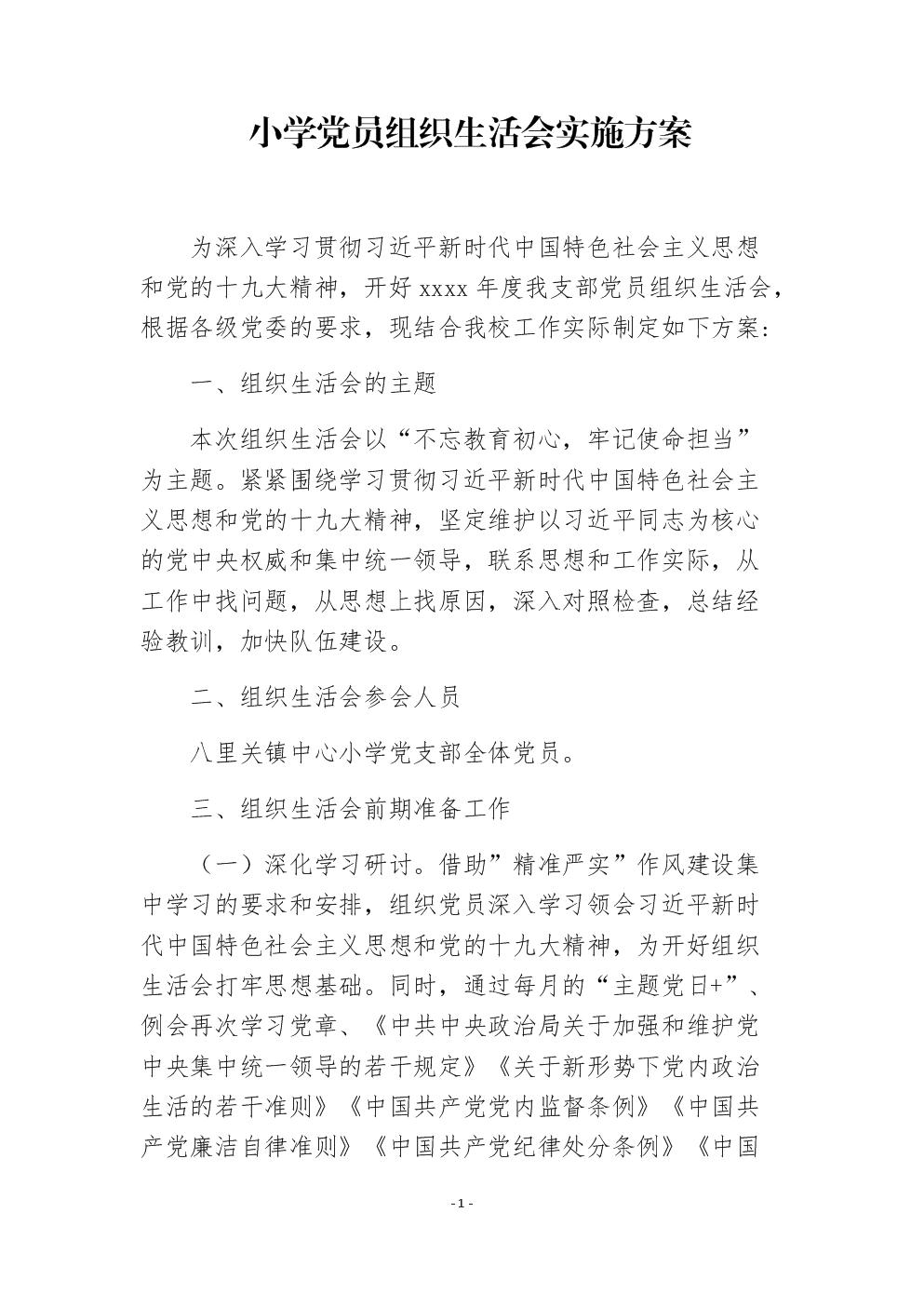 党支部2019年度组织生活会工作方案范文.docx