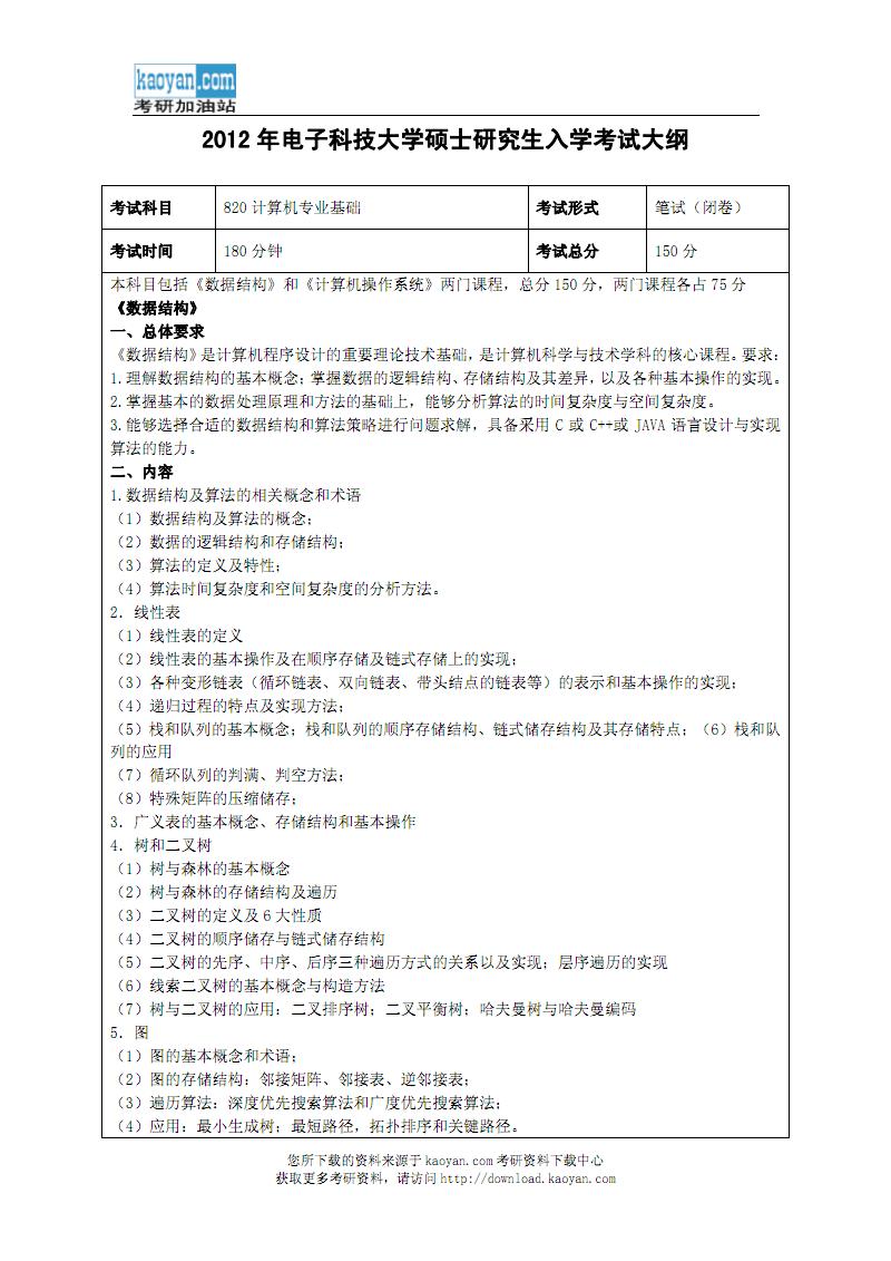 2012年电子科技大学820计算机专业基础考试大纲.pdf