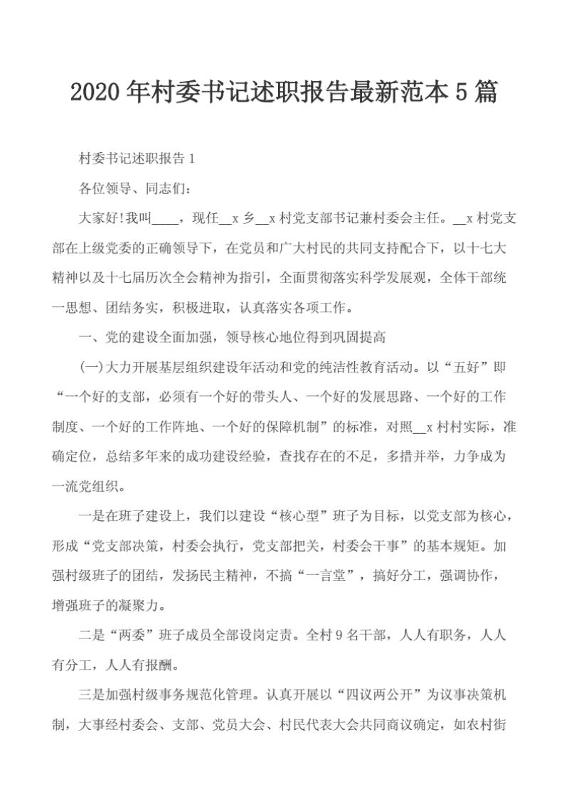 报告~2020年村委书记述职报告最新范本5篇..pdf