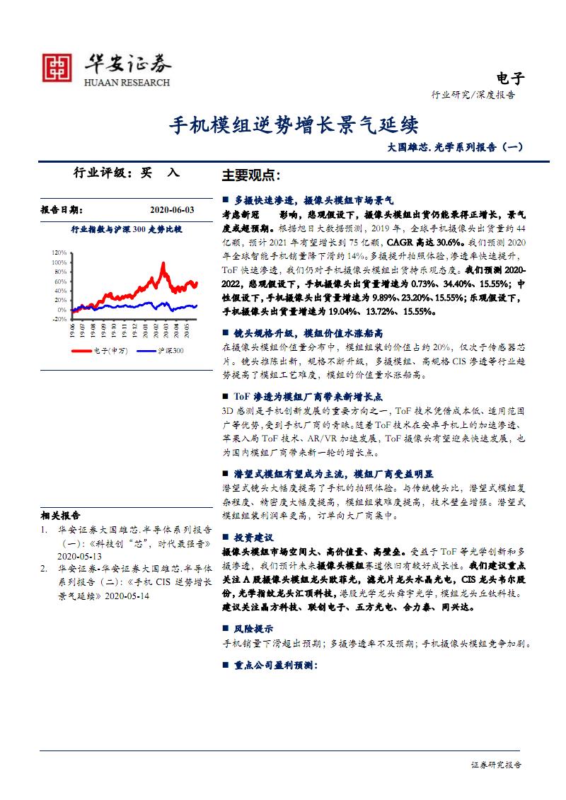 电子行业大国雄芯.光学系列报告(一):手机模组.pdf