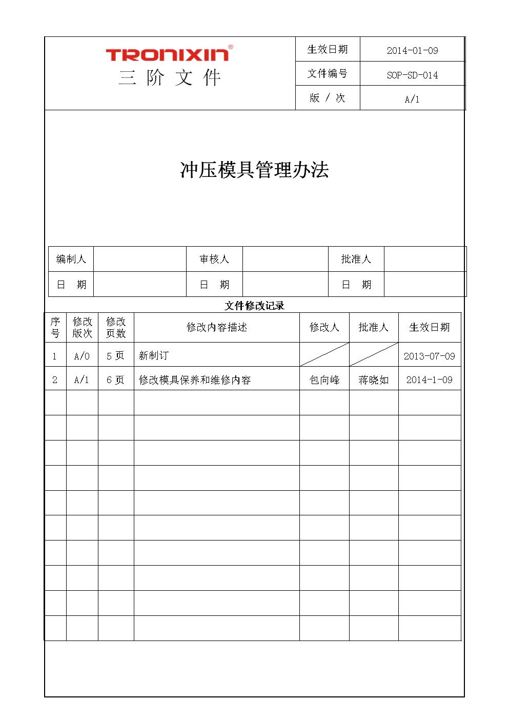 SOP-SD-014冲压模具管理办法 .doc