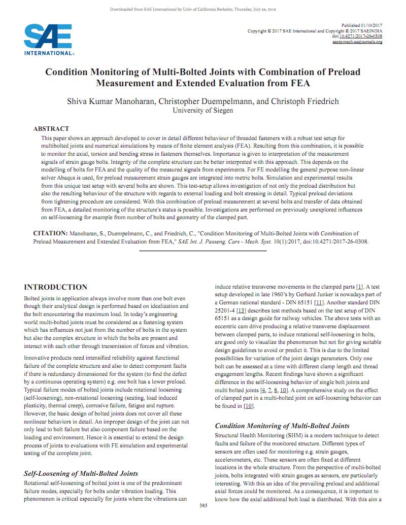 結合預緊力測量和FEA擴展評估的多螺栓接頭狀態監控 Condition Monitoring of Multi-Bolted Joints with Combination of Preload Measurement and Extended Evaluation from FEA.pdf