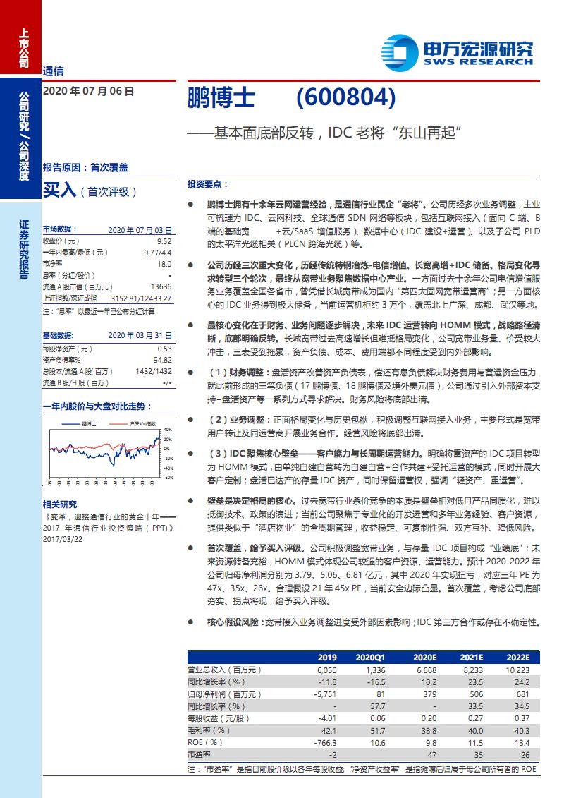 鹏博士-市场前景及投资研究报告-基本面底部,IDC老将.pdf