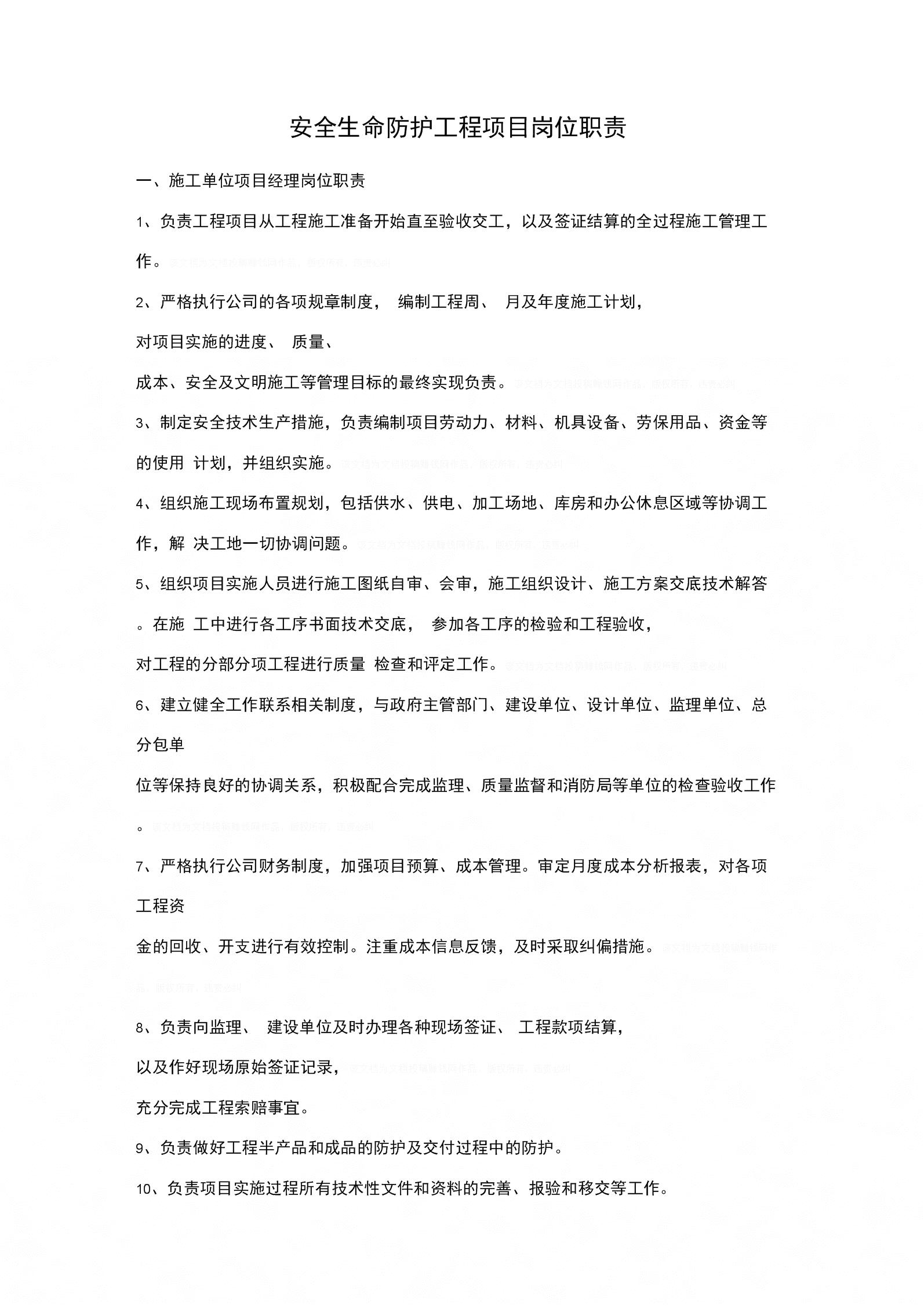 安全生命防护工程项目岗位职责范本.docx