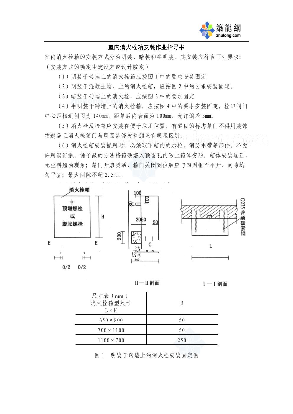 室内消火栓箱安装作业指导书.doc