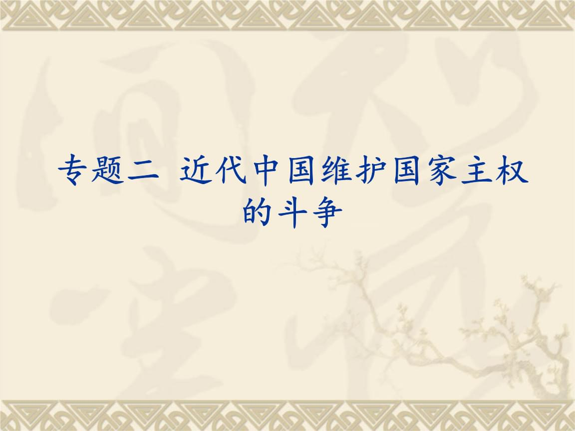 人民版历史必修一专题二《近代中国维护国家主权的斗争》精典课件.ppt