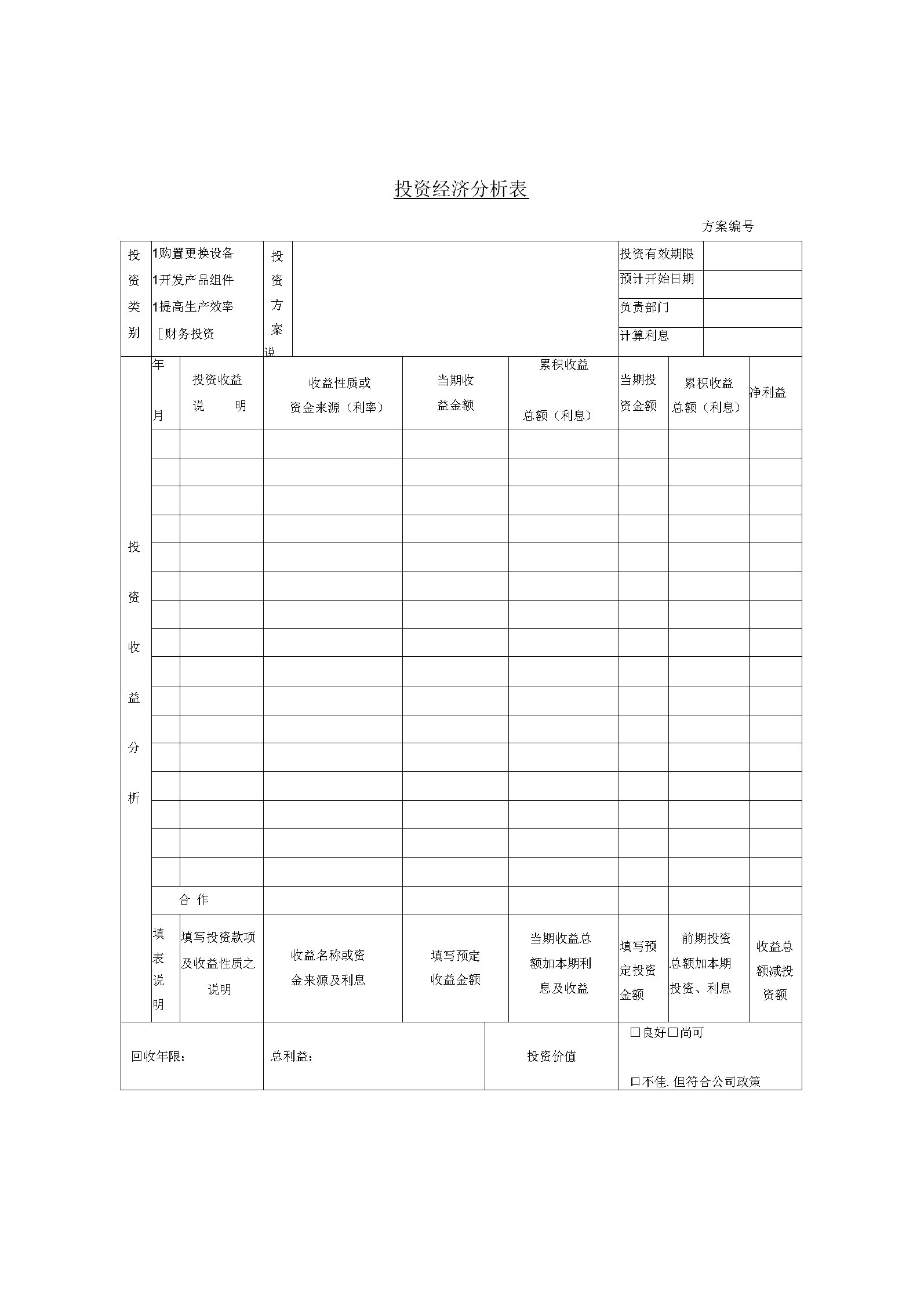 某公司投资经济分析记录表.docx