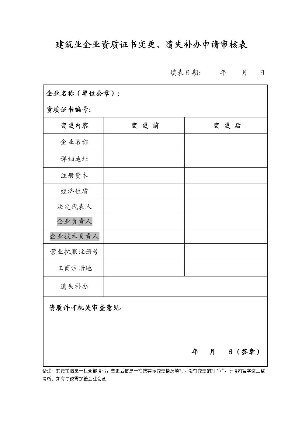 湖北省建筑业企业资质变更申请表.doc