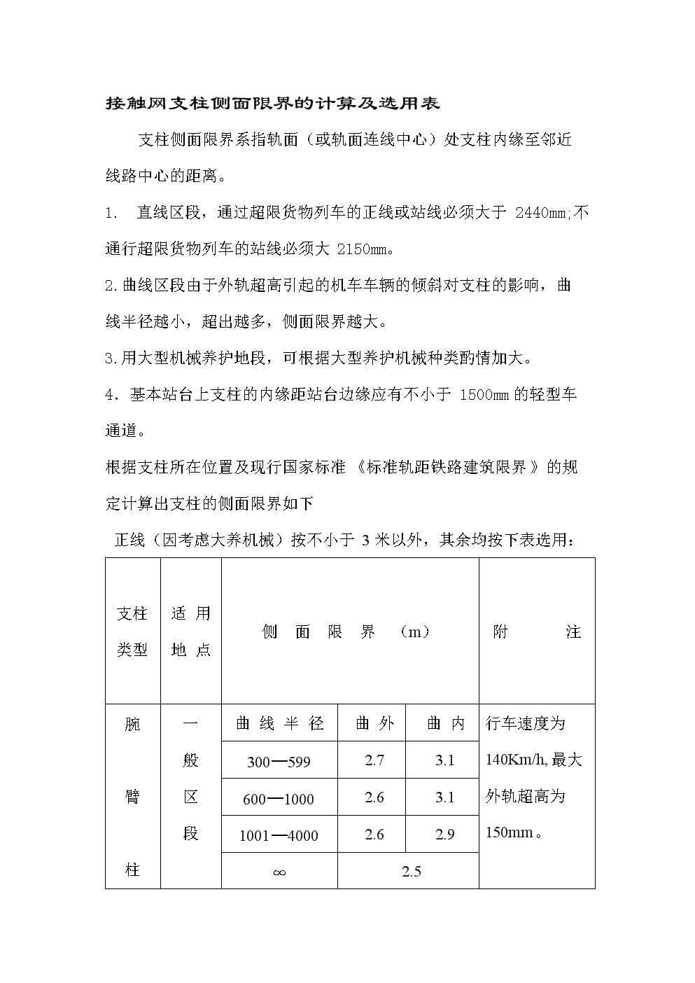 接触网支柱侧面限界的计算及选用表.doc