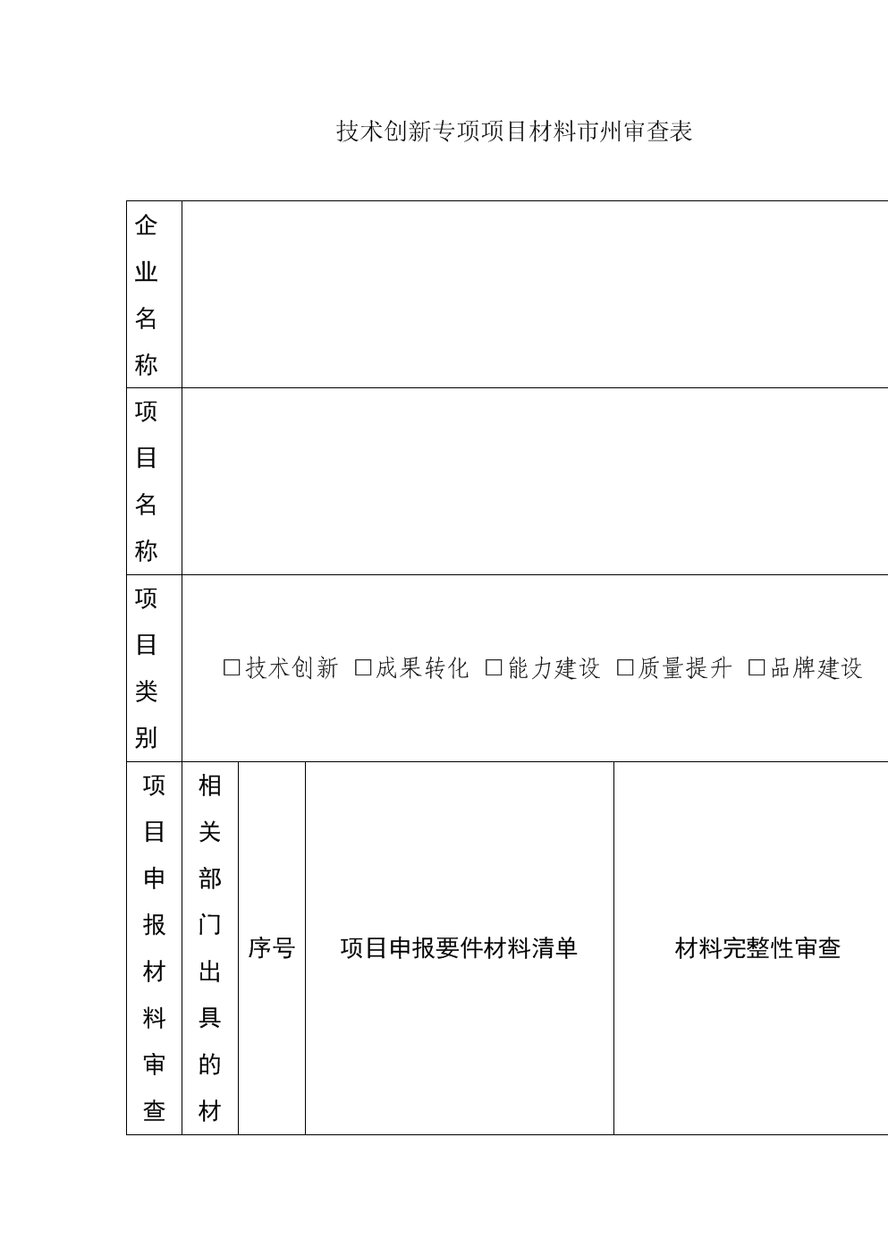 技术创新专项项目材料市州审查表.doc
