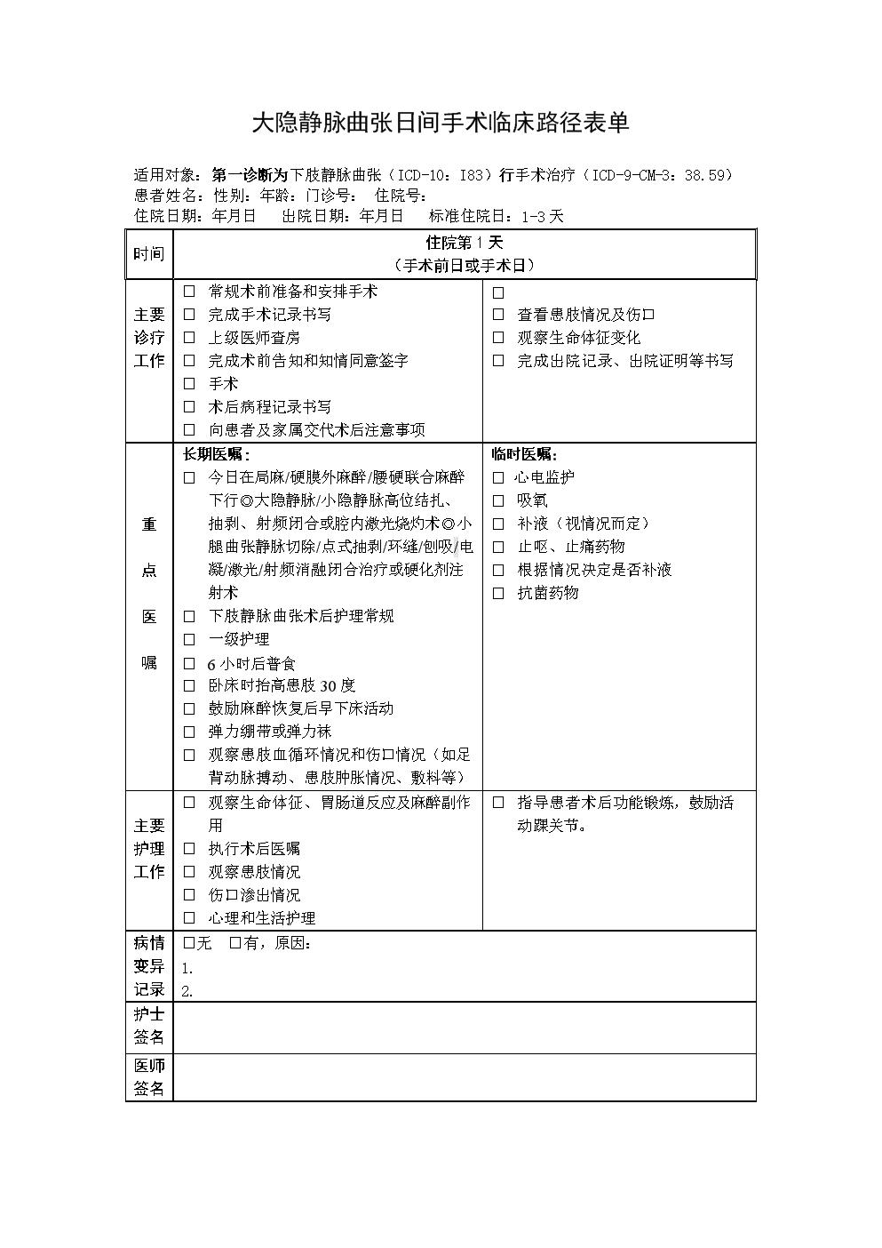 大隱靜脈曲張日間手術臨床路徑表單.doc