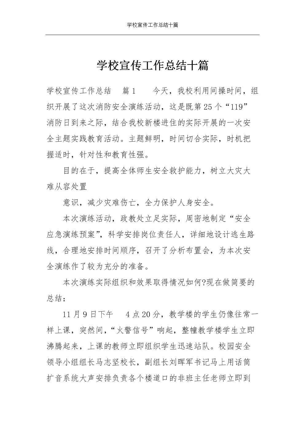 学校宣传工作总结十篇.docx