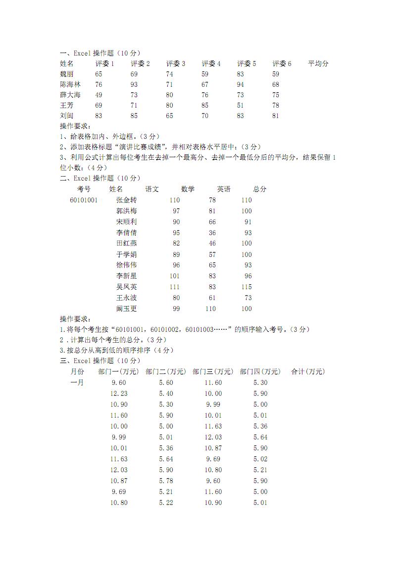 初中信息技术 中考excel操作题.pdf