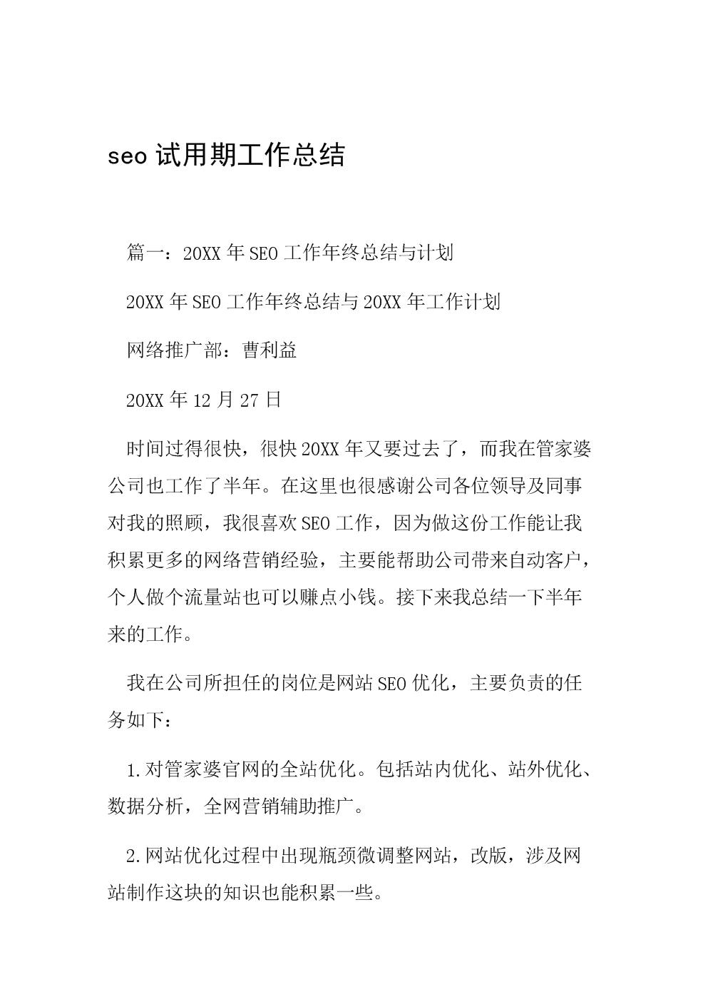 seo试用期工作总结.doc