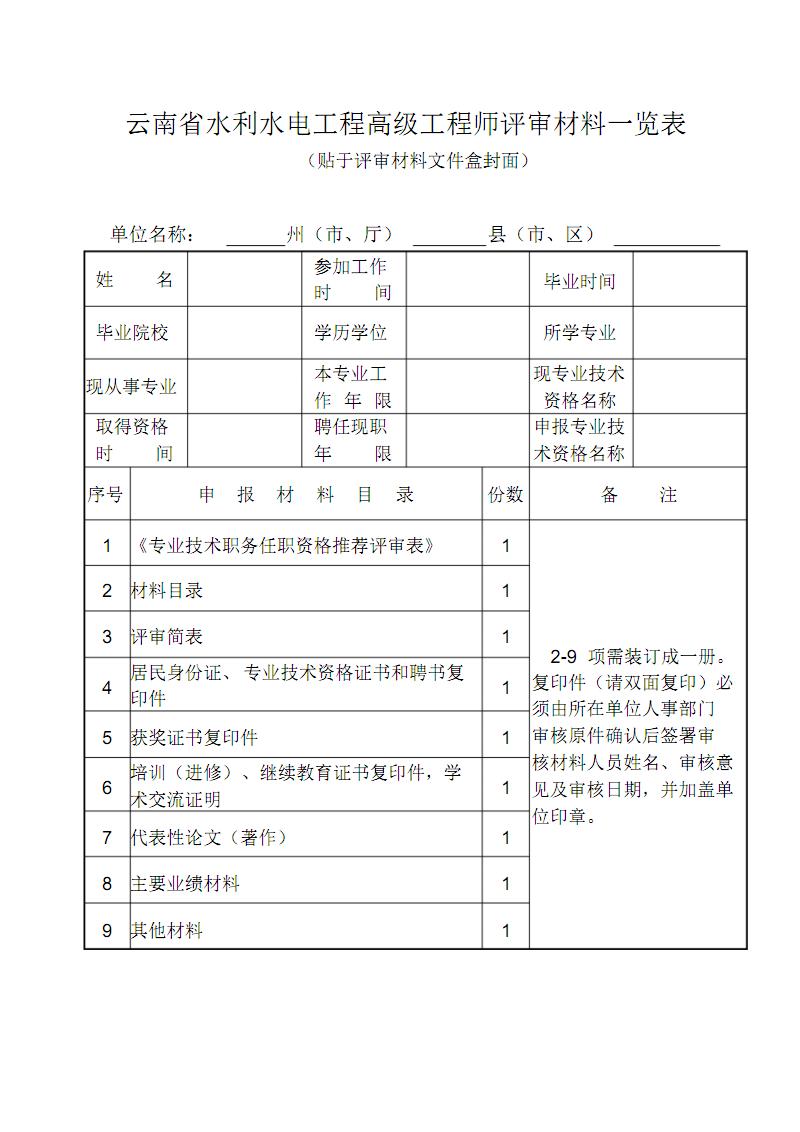 云南省水利水电工程高级工程师评审材料一览表.pdf