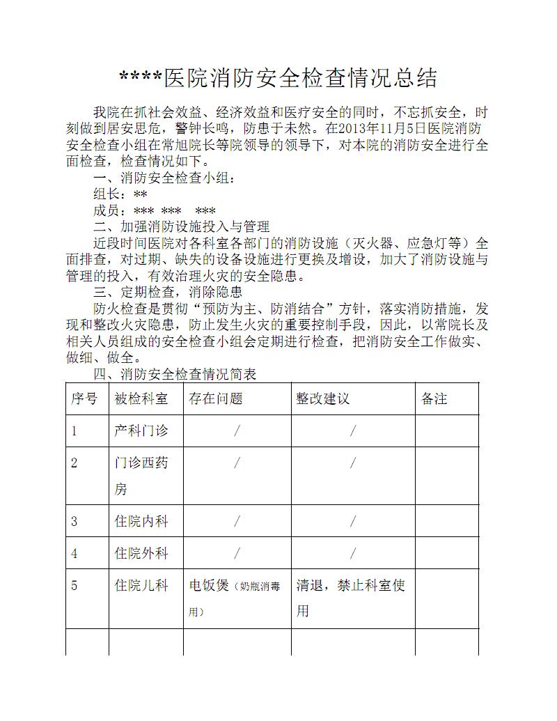 医院消防安全检查情况总结.pdf