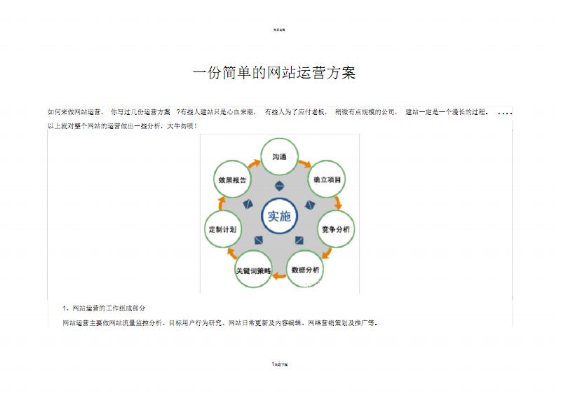 一份简单的SEO基础网站运营方案.pdf