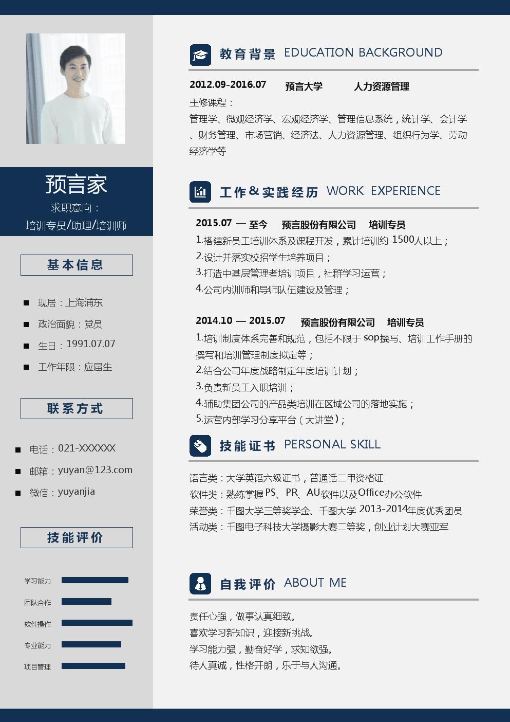 个人简历模板(培训师样例).doc