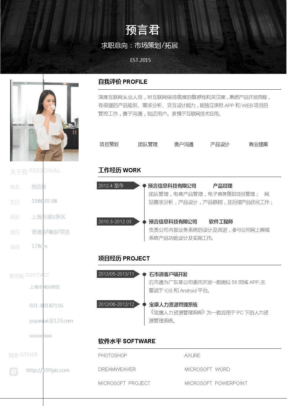 个人简历模板(市场策划样例).docx