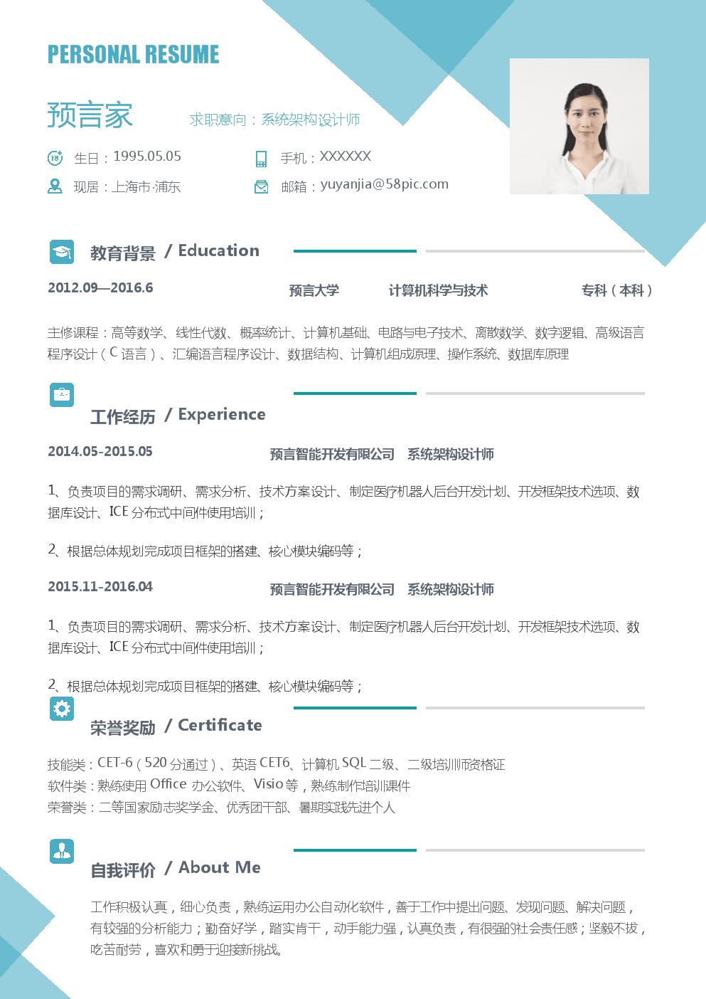 个人简历模板(系统架构设计师样例).docx