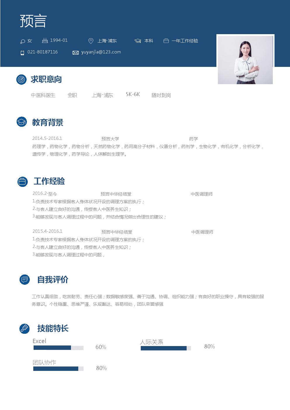 个人简历模板(中医科医生样例).doc