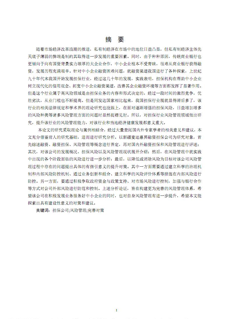 新疆麦迪惠昇融资担保有限公司风险管理研究.pdf