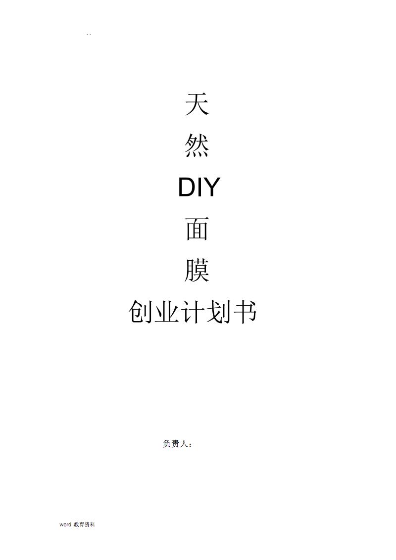 天然DIY面膜创业项目实施计划书.pdf