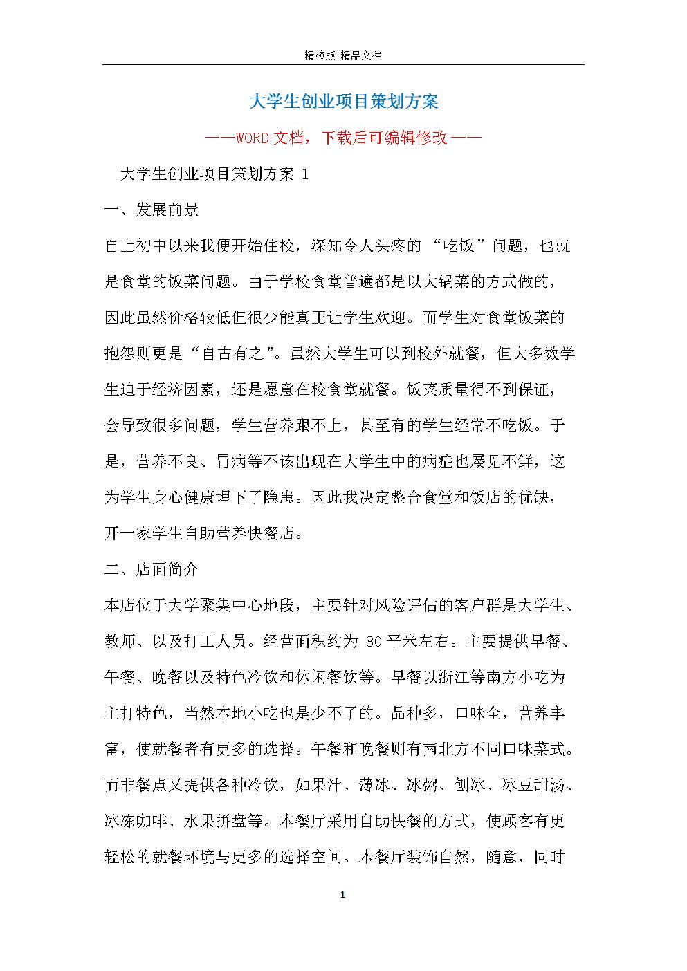 大学生创业项目策划方案.docx