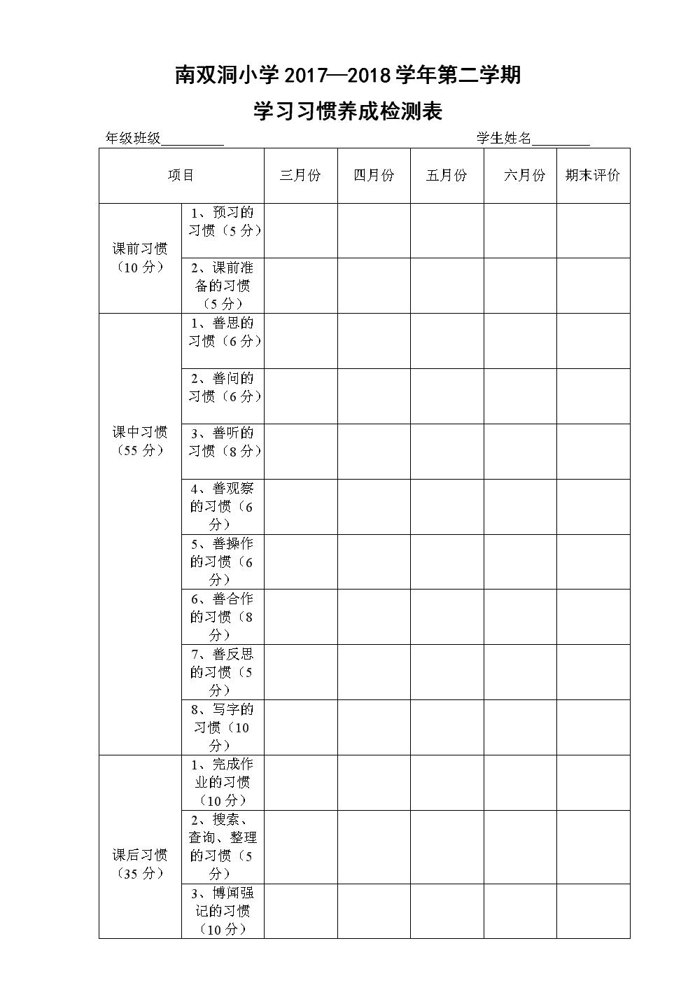 学习习惯养成检测表.doc