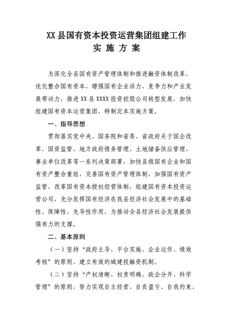 XX县国有资本投资运营集团组建工作实施方案(20200813132635).pdf