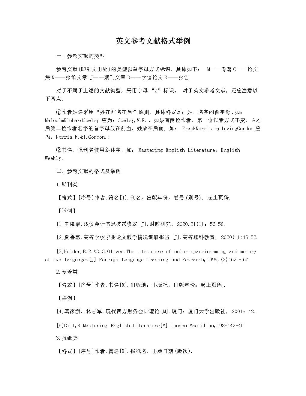英文參考文獻格式舉例.docx