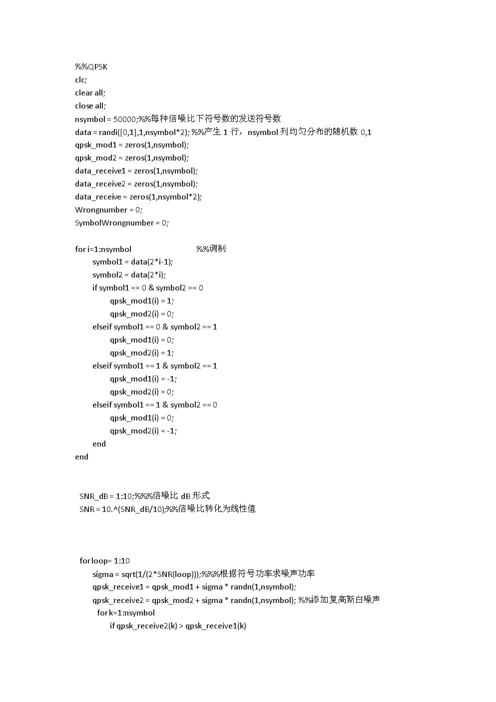 QPSK理论误码率与实际误码率MATLAB仿真程序.docx