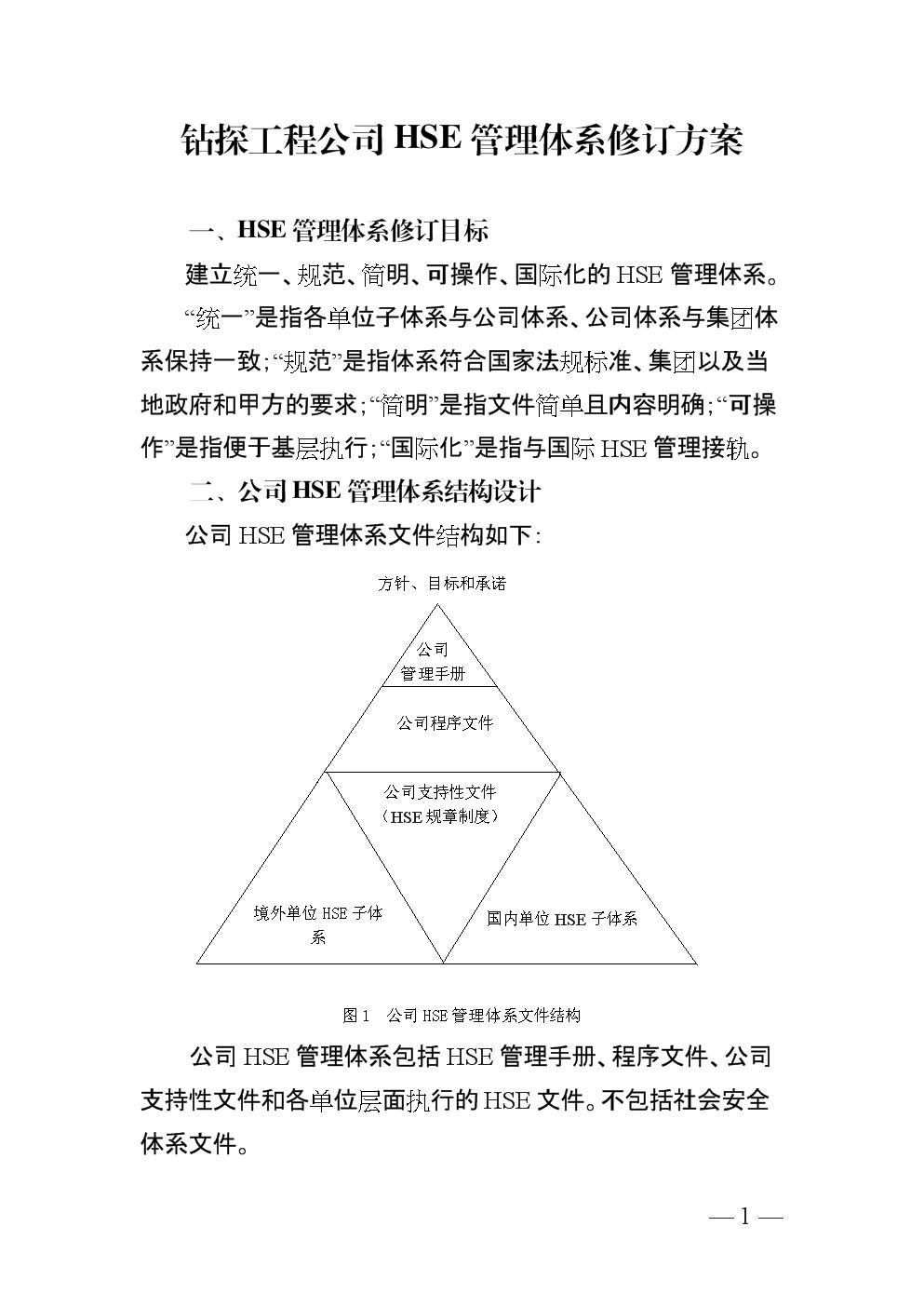 钻探工程公司HSE管理体系修订方案.docx