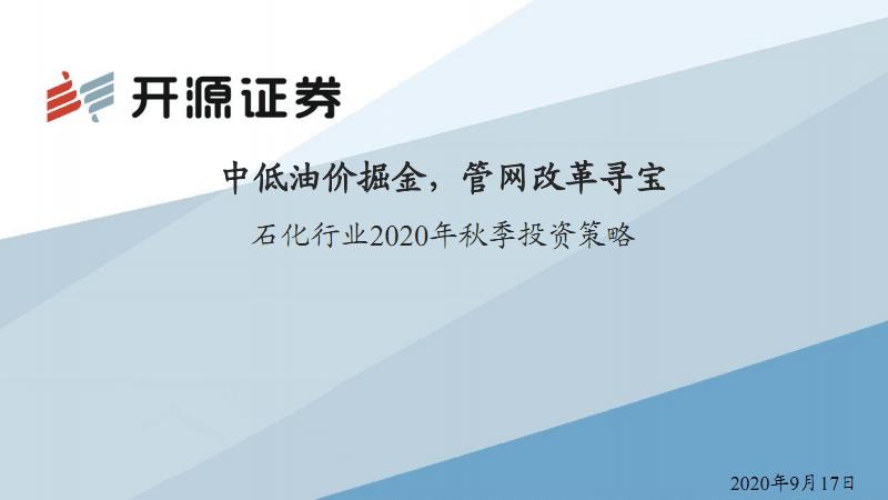 石化行业2020年投资策略和分析报告:中低油价,管网改革.pdf