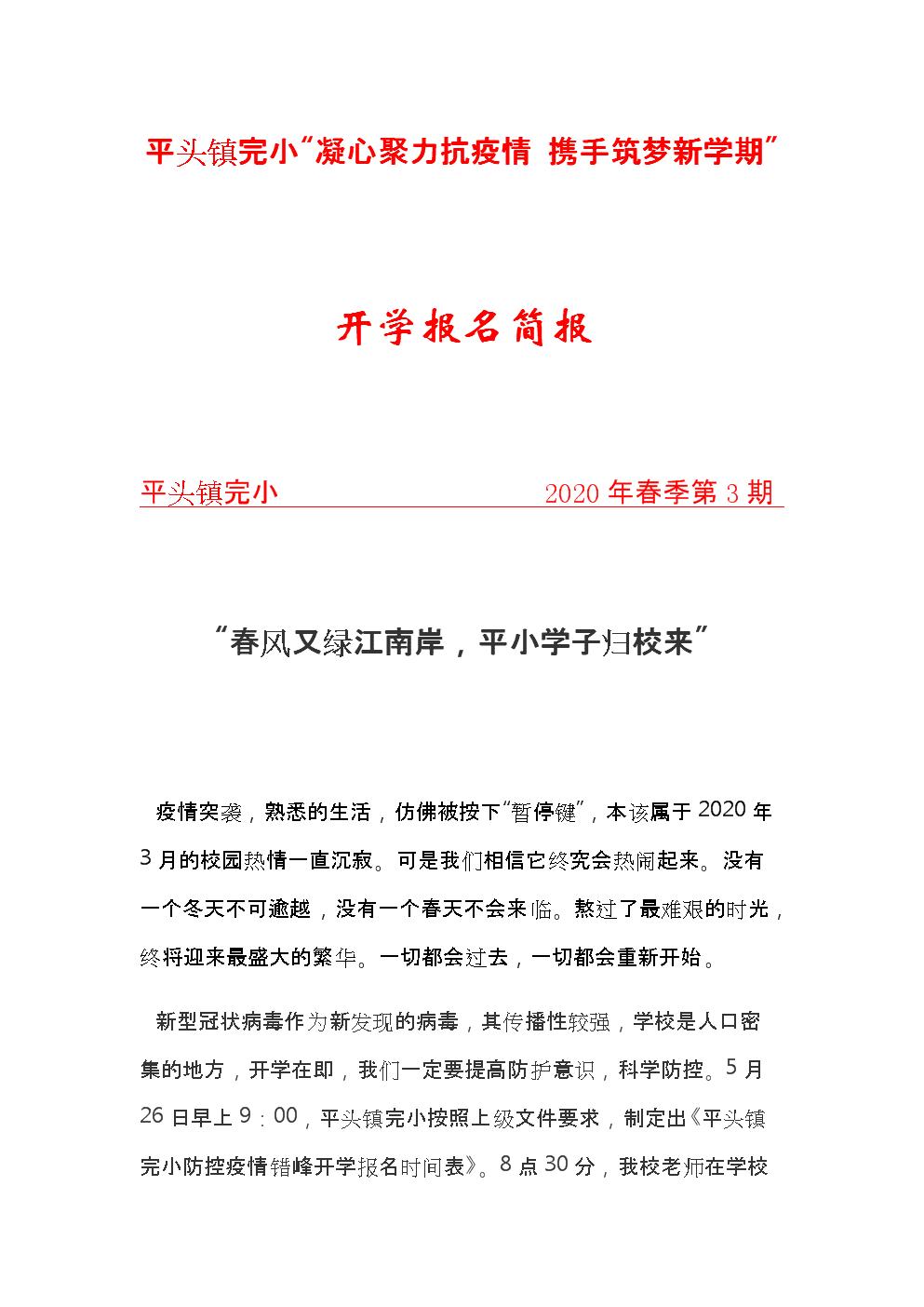 平头镇完小开学简报.docx