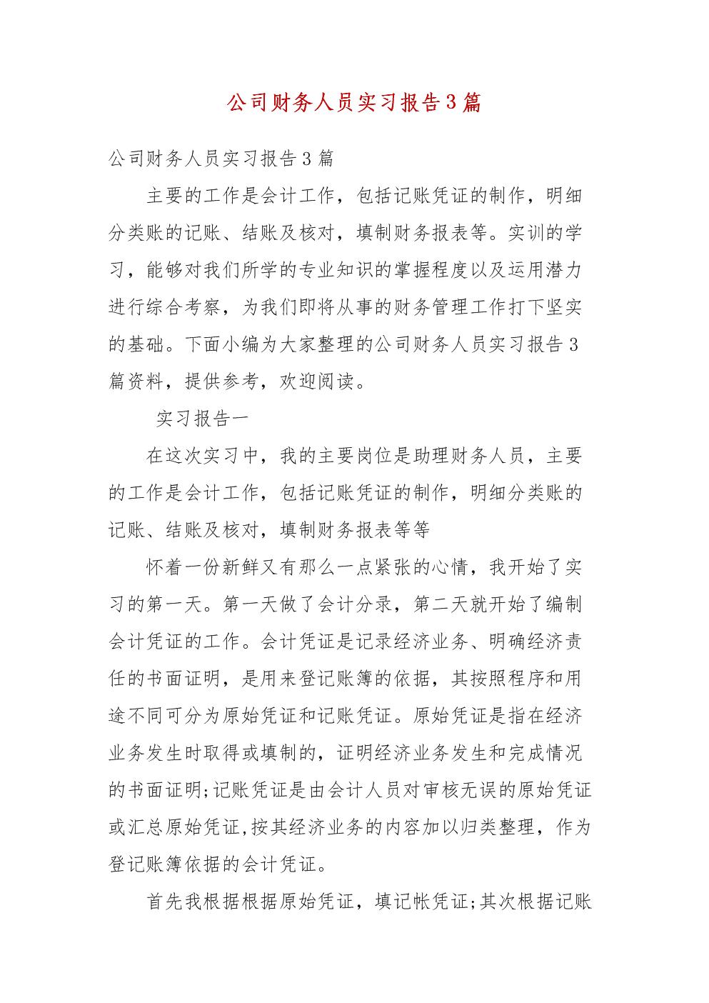精编公司财务人员实习报告3篇(三).docx