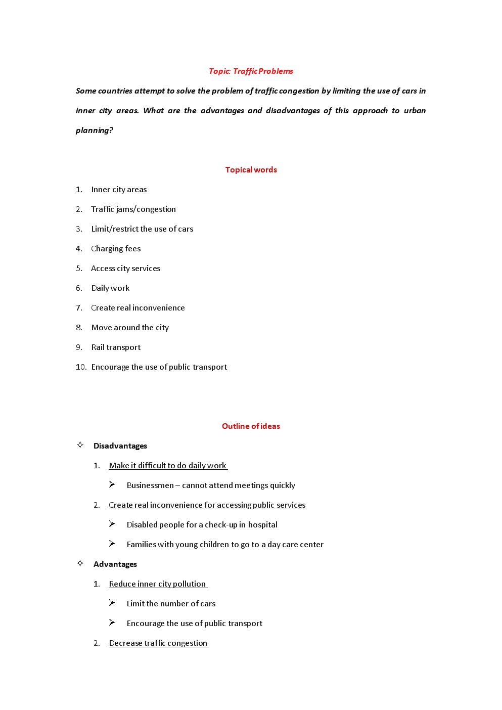 IELTSWritingTask2outline-Environment(traffic)x大学考研英语四六级雅思托福GRE考研高考GMAT大小作文宝典策略技巧范文模板.doc