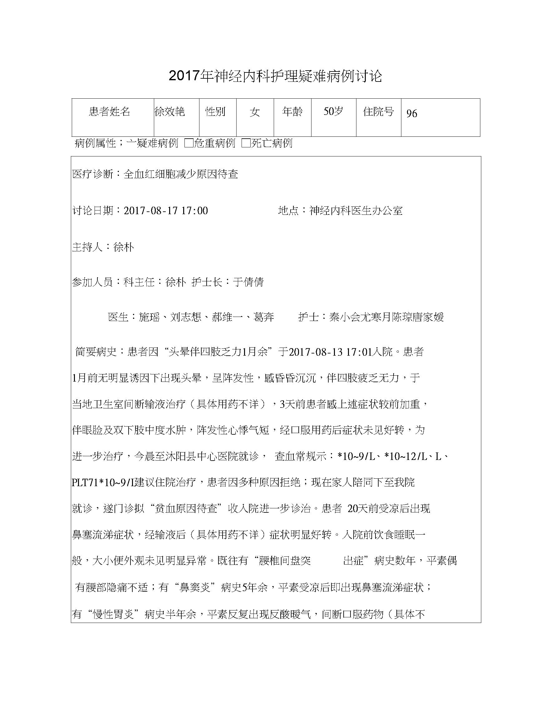 神经内科护理疑难病例讨论(20200913080252).docx