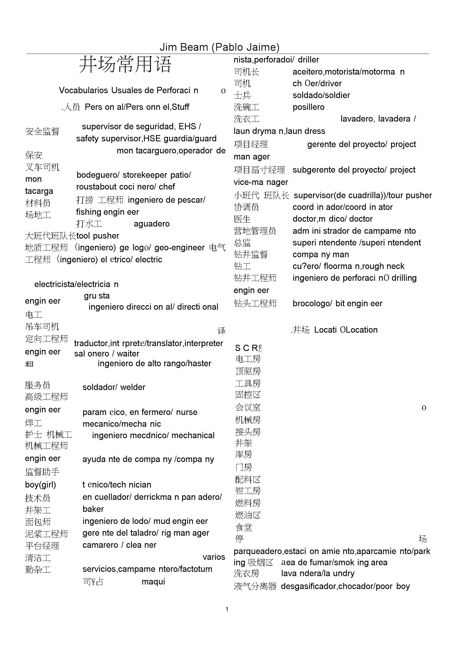 石油钻井西班牙语井场常用语.docx