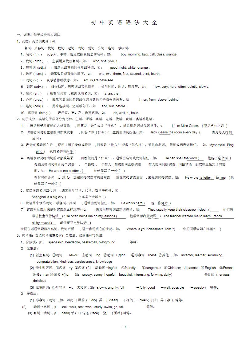 初中英语语法大全(版面未调整) .pdf