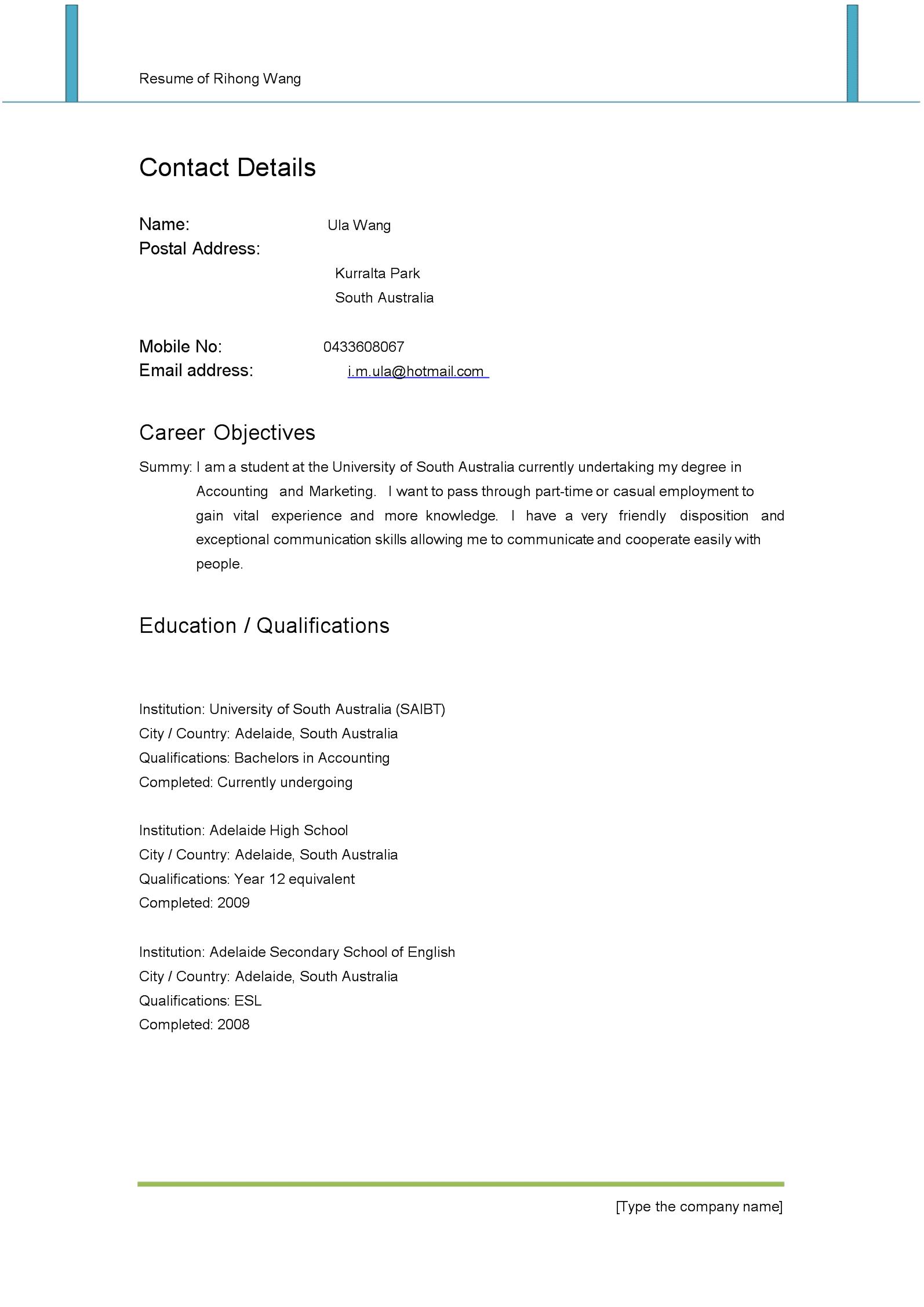 (完整版)留学生海外打工求职简历范文6.doc