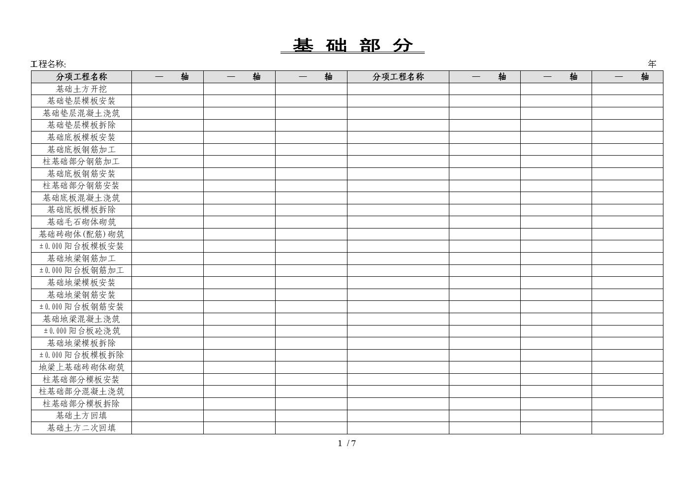 检验批完成时间表.doc