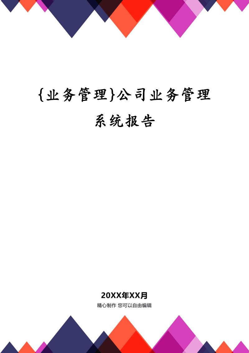 {业务管理}公司业务管理系统报告.pdf